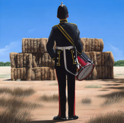 Ross Watson original oil painting of a British military drummer viewed from behind standing in front of a rural Australian haystack