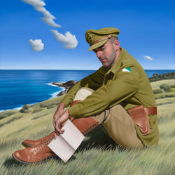 Ross Watson original oil painting of an Australian soldier sitting on a beach headland reading a letter