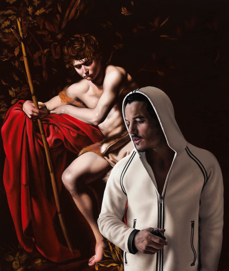 Realist painting of actor Luke Evans wearing white hooded top with black piping incorporated into caravaggio painting reference of a shepherd reclining on red fabric holding a staff