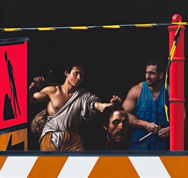 Ross Watson painting of Caravaggio David and goliath with severed head, plumber in blue overalls and warning signs