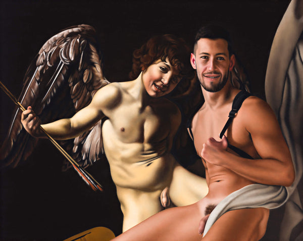 Realist painting of fit naked man sitting in front of winged angel cupid by caravaggio