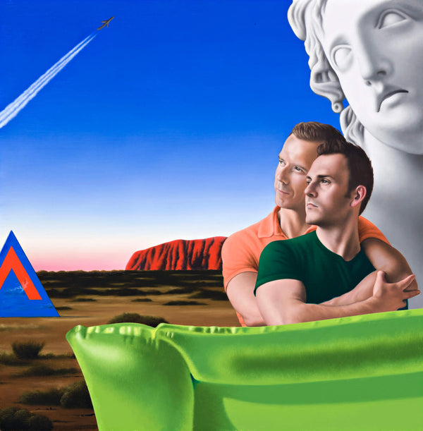 Surrealist Ross Watson painting of two men embracing, one weraring an orange shirt the other green, a flourescent lime green lilo in the foreground and a giant marble sculpture and uluru in the background