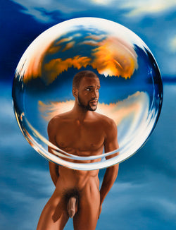 An original Ross Watson painting of a naked black man standing behind a surrealist bubble with orange reflected in its shimmer