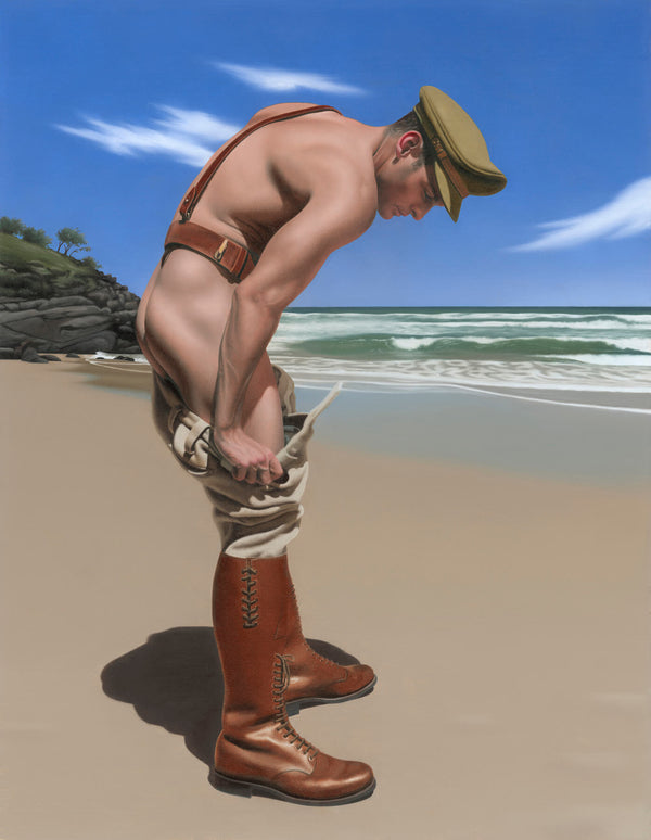 Ross Watson painting of soldier undressing on beach still wearing sam brown and boots
