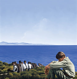 Ross Watson painting of WW1 soldier sitting on headland to the side of a row of smartly dressed men