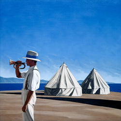 Ross Watson painting of a man in hat and shirt playing bugle with two round canvas tents