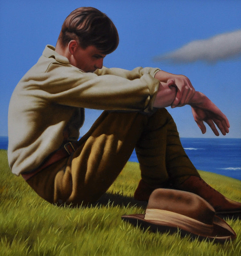 Ross Watson painting of WW1 Soldier sitting on ocean headland with hat to his side with downward gaze