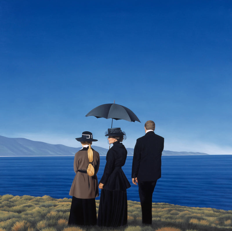 Ross Watson painting of three figures on coastal headland central figure in black dress holding umbrella man in black suit and woman wearing grey with ponytail
