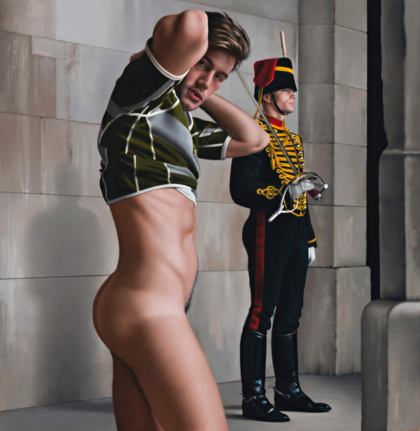 Ross Watson painting of undressing gay rugby player standing in front of kings trooper