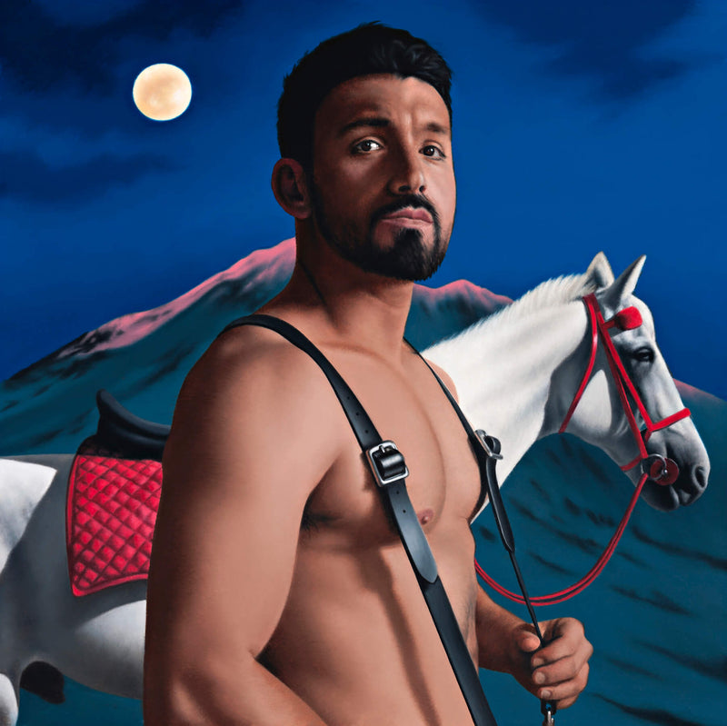 Ross Watson painting of shirtless Alfie Arcuri wearing braces standing in front of white horse with red saddle in full moon scence with snowy mountain