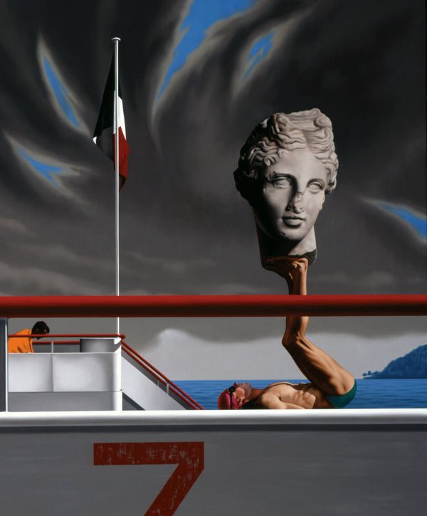 Surrealist painting of a man balancing an ancient marble head sculpture on his feet lying on the deck of a boat in stormy seas