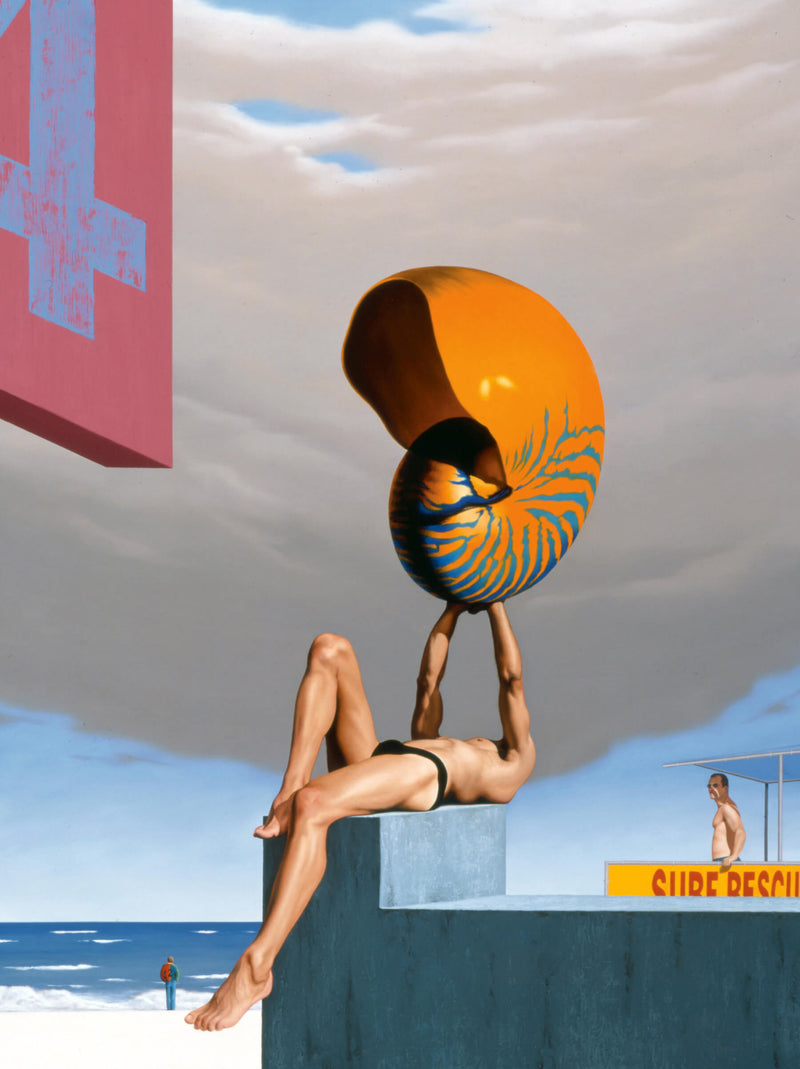 Surrealist painting of man in speedos holding oversized nautilus shell on platform in beach setting