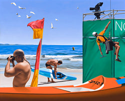 surrealist Ross Watson painting of window washer decending from green covered scaffolding, red and yellow surf flag man with camera at beach and surf ski