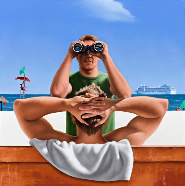 Ross Watson painting of man in green shirt looking through binocculars with cruise ship and lifeguard tower background and man with hands clasped behind head on bench in foreground