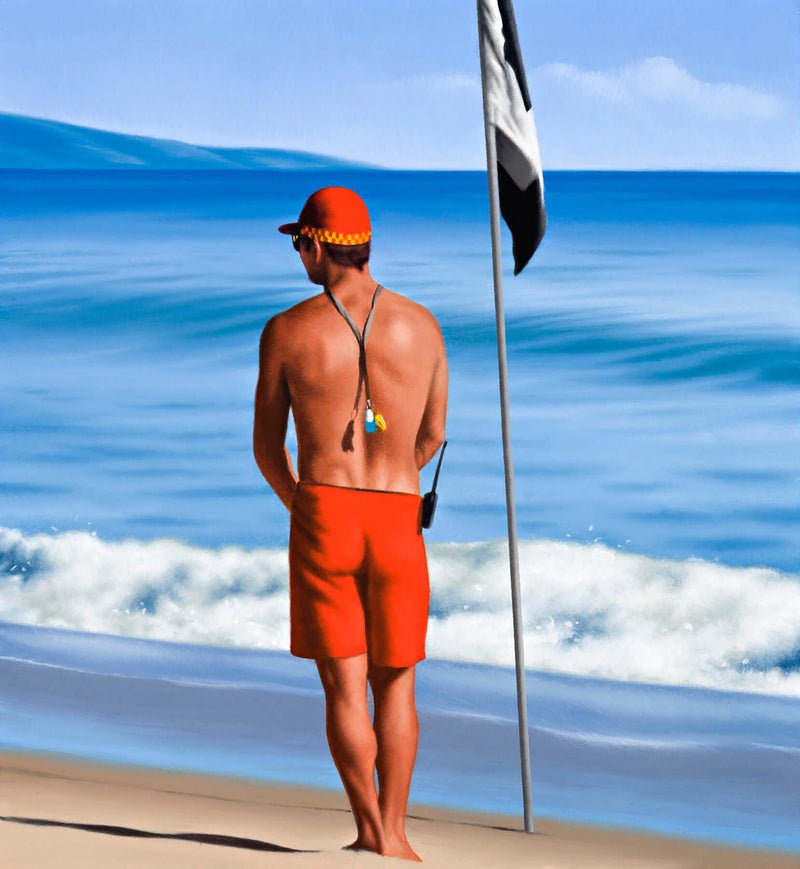 Ross Watson painting of shirtless lifeguard at beach wearing red cap standing next to black and white flag