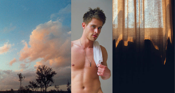 Ross Watson triptych photograph of shirtless man flanked by cloudy sky and hessian curtains