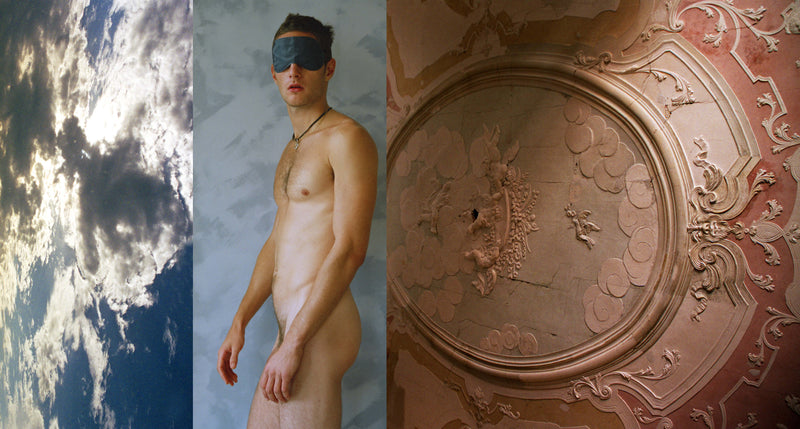 Ross Watson triptych photograph of naked man wearing blindfold, flanked by cloudy sky and Venetian fresco ceiling