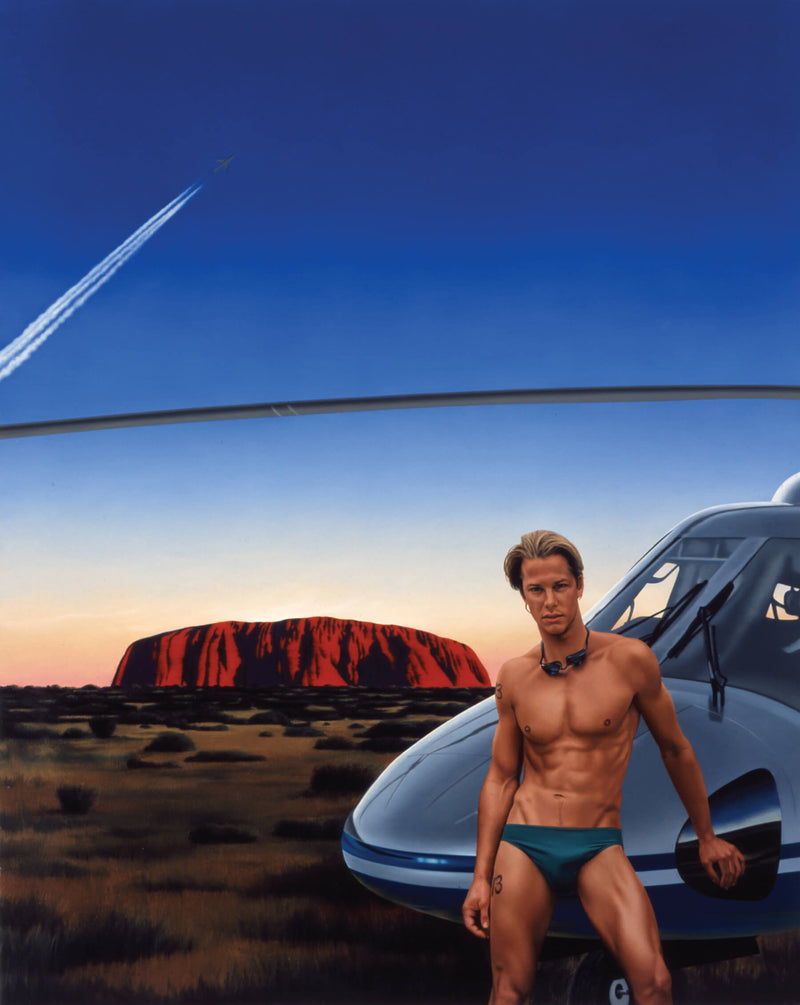 Painting of man in speedo in front of helicoptor with Uluru in background with jet stream in dawn sky