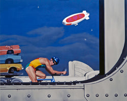 Painting of lycra clad cyclist crossing art deco bridge with blimp in sky and truck carrying cars in background
