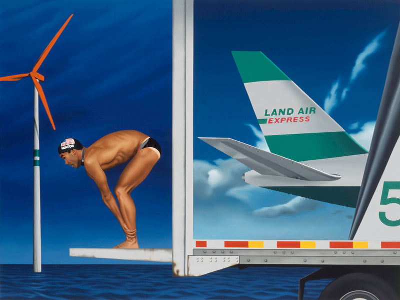 Painting of Dan Veatch diving off back of truck with a wind turbine with red blades to the left.  The side of the truck features the tail of an Land Air express aeroplane