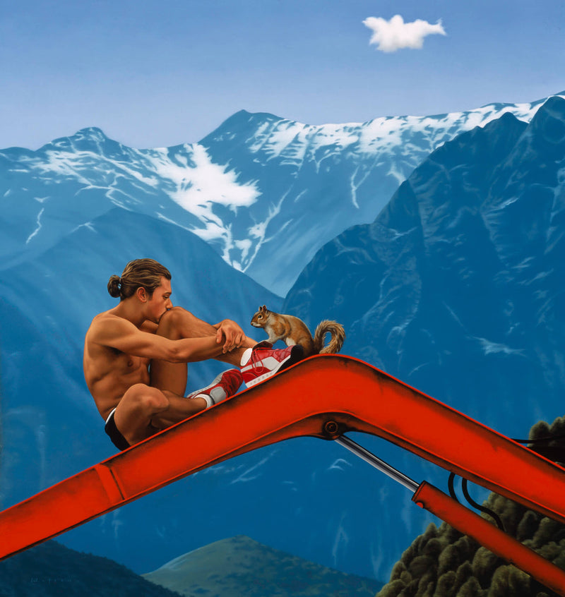 Fit shirtless man on red crane arm with squirril in front of Alpine mountains