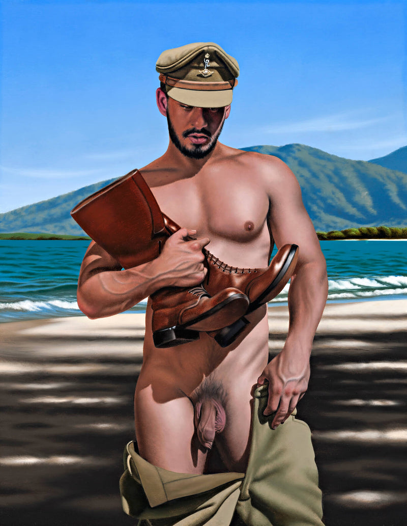Ross Watson painting on undressed soldier holding brown tall boots on beach