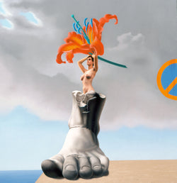 Surrealist painting of naked woman on top of ancient marble sculpture of foot holding giant orange lily with a no entry sign in a background of a cloudy sky