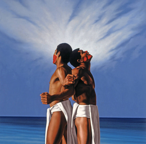 Ross Watson painting of two Fijian wearing white loin cloths back to back with arms linked in from of cloudy sky and ocean