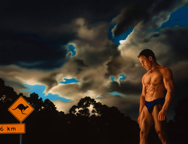 Man in speedos in dramatic night sky with kangaroo road sign