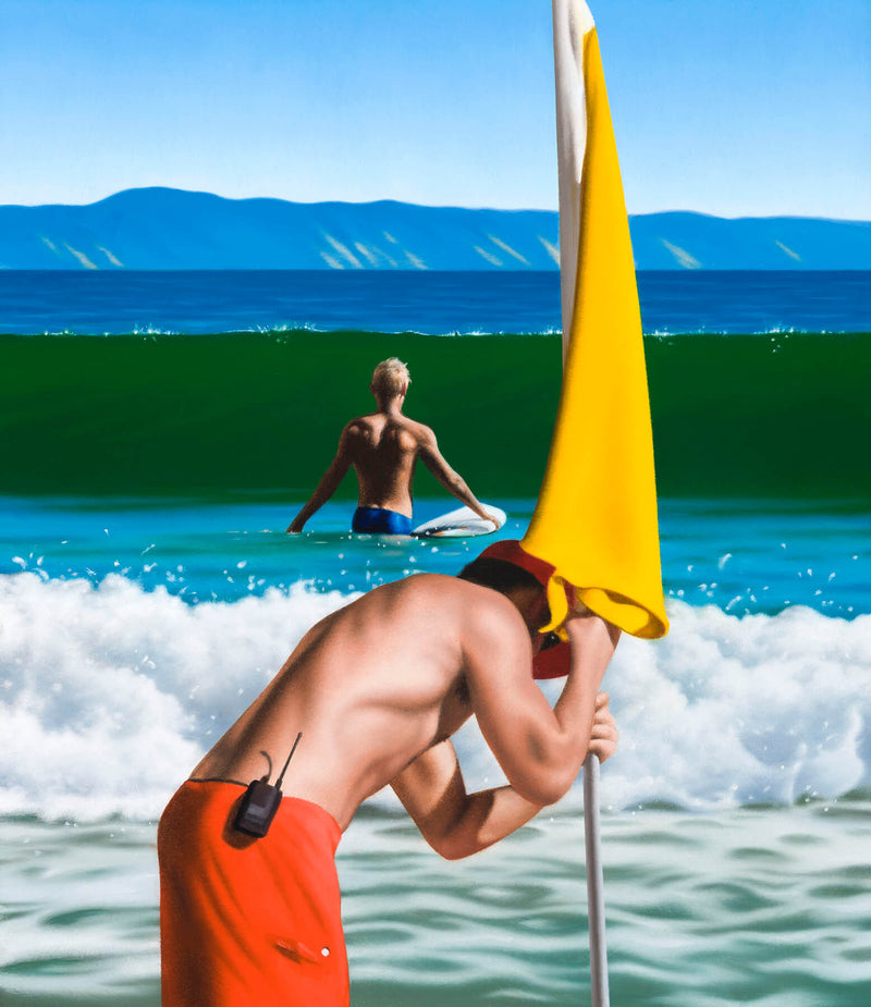 Ross Watson painting of life saver placing yellow flag in sand with surfer and wave in background