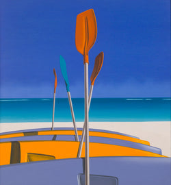 Ross Watso painting of yellow and blue canoes laying on beach with four oars standing upright