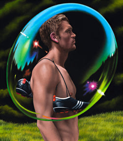 Ross Watson painting of footballer Sam Gilbert with his boots over his shoulder in profile encased in giant transparent bubble in garden setting