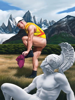 Ross Watson painting of tradesman dressing in front of alpine landscape with marble sculpture of Adonis in foreground