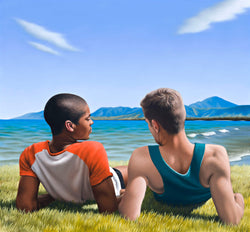 Ross Watson painting of two casually dressed young men lying on grass next to beach holding hands