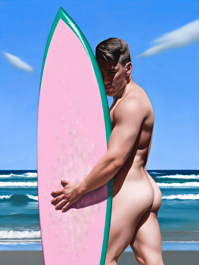 Ross Watson painting of naked surfer with muscular buttocks holding pink surfboard at beach
