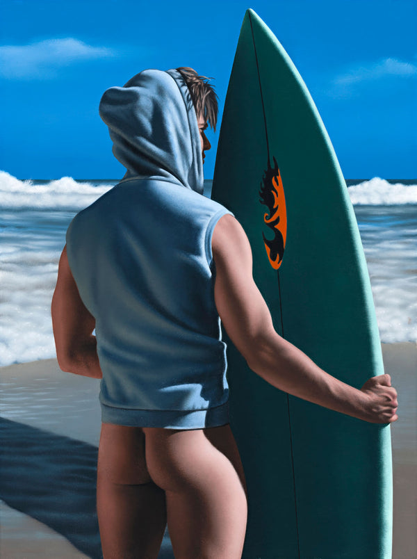 Ross Watson painting of pantless surfer viewed in profile holding green surfboard vertically at beach