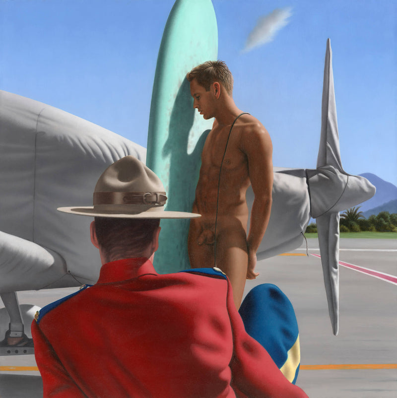 Ross Watson painting of Candian mounty in front of full frontal naked surfer with aeroplane wrapped in fabric on tarmac