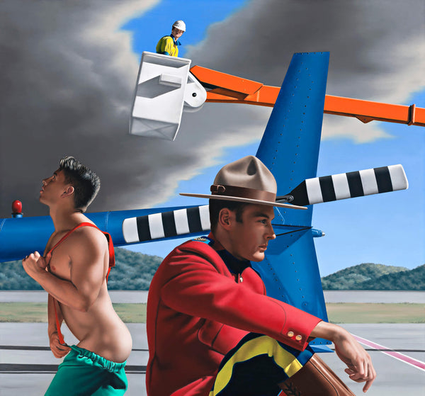 Ross Watson painting of man in Canadian Mountie uniform in front of helicopter and fireman undressing with worker in cherry picker in the distance