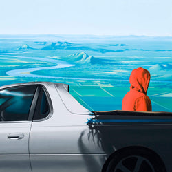Painting of man in red hoody standing behind silver ute with the Ord River Delta in the background