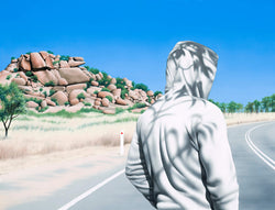Painting of man on road wearing white hoody with rock formation in background