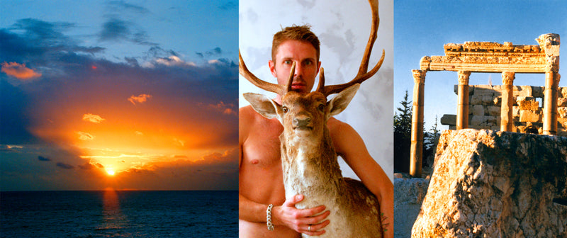 Ross Watson triptych photograph of jake shears holding stuffed dear flanked by sunrise and ancient roman ruins