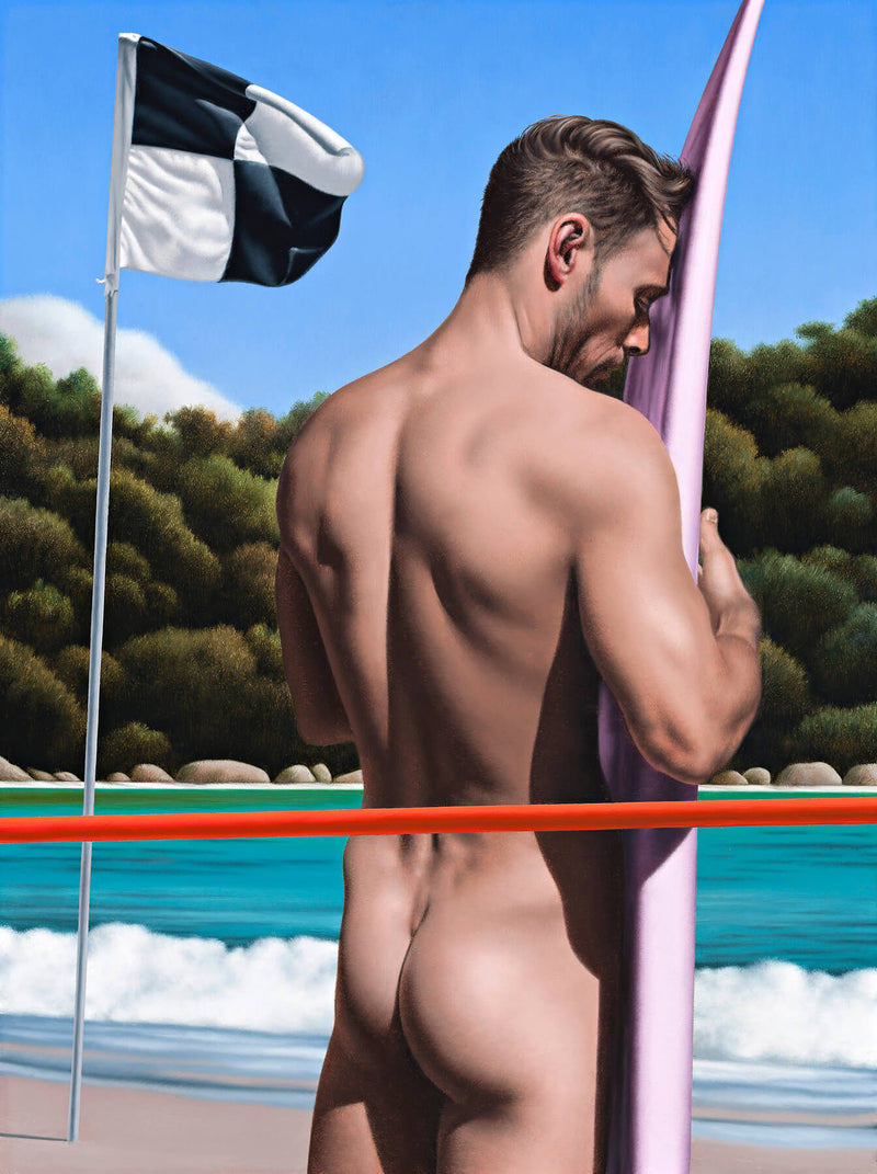 Ross Watson painting of naked surfer viewed from behind next to pink surfboard with waves and black and white flag in background