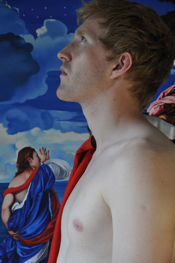 Ross Watson photograph of Jason Ball shirtless in front of painting by Titian