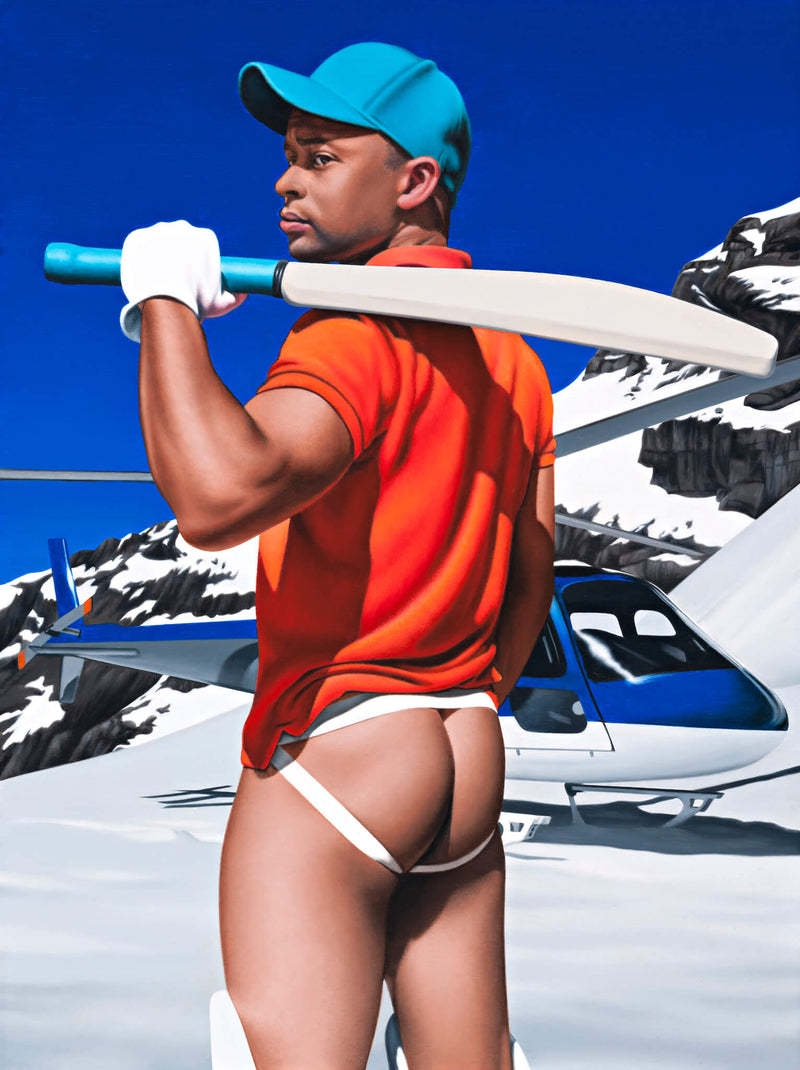 Ross Watson painting of black man wearing blue baseball cap orange shirt and jock strap holding cricket bat over his shoulder in front of helicopter in alpine setting