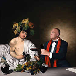 Realist painting of man in tuxedo wearing a red scarf holding a glass of red wine engaging with Bacchus wearing flowing white robes by Caravaggio