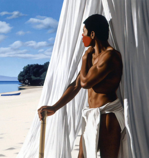 ross watson painting of man in traditional fijian dress and red painted face standing on beach in front of unfurled mosquito net