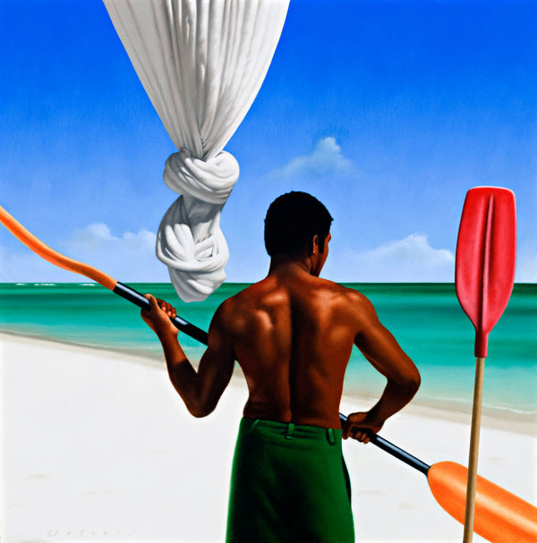 Ross Watson painting of shirtless black man on beach holding a paddle with knotted mosquito net in background and upright paddle in foreground