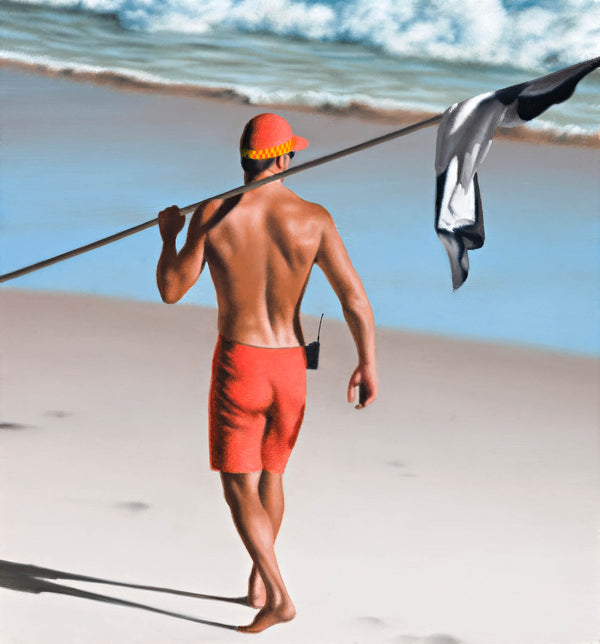 Ross Watson painting of shirtless lifesaver on the beach carrying black and white flag over his shoulder
