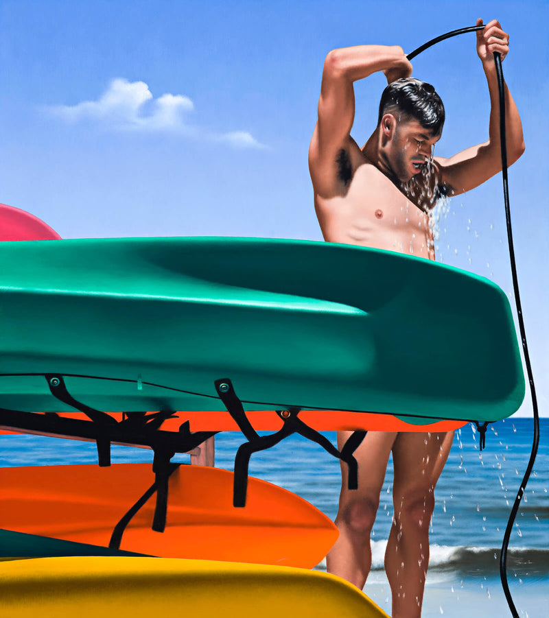 Ross Watson painting of lifesaver showering under hose with stack of surf skis in the foreground