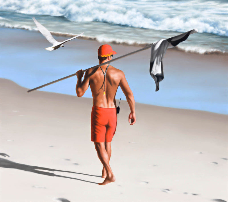 Ross Watson painting of shirtless lifeguard wearing red shorts carrying black and white flag over shoulder with white cockatoo flying at beach